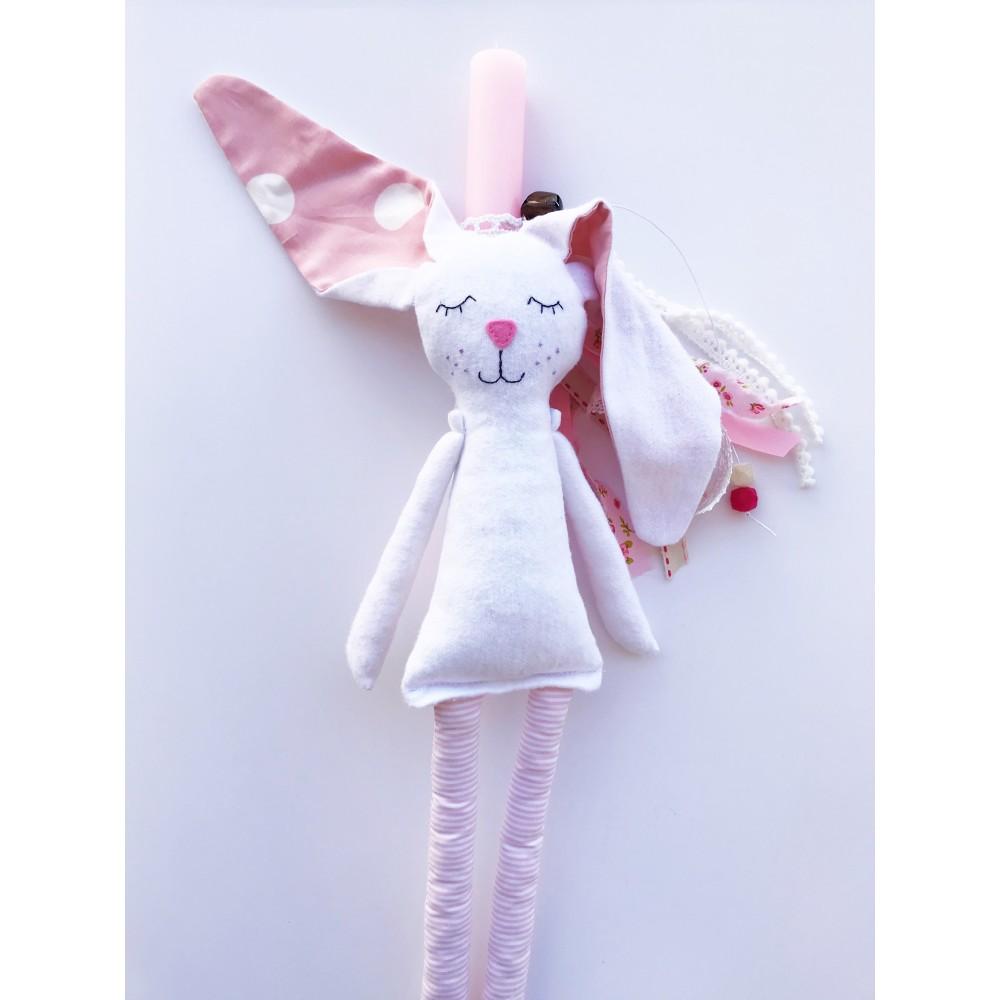 Χειροποίητη Πασχαλινή Λαμπάδα με Κουνελάκι Λευκό-Ροζ