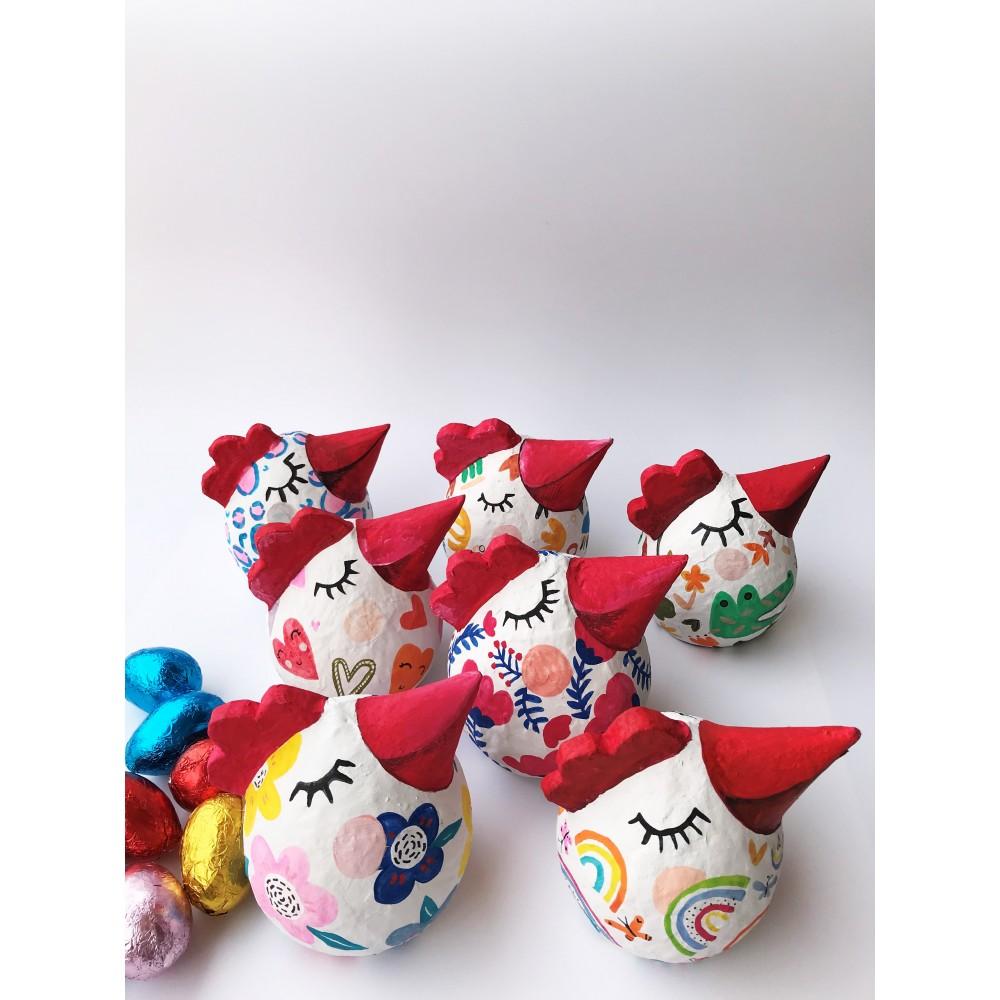 Χειροποίητη Κότα Rainbow με σοκολατένια αβγά και Όνομα