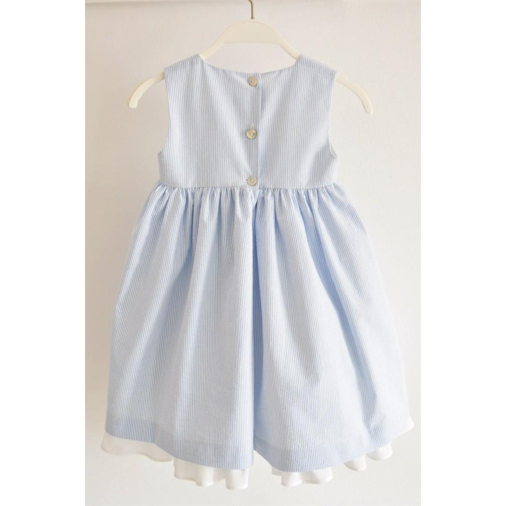 Χειροποίητο Φόρεμα Striped in Ciel