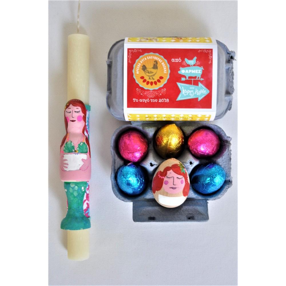 Σετ Χειροποίητη Πασχαλινή Λαμπάδα Γοργόνα και Ξύλινο Αυγό με όνομα