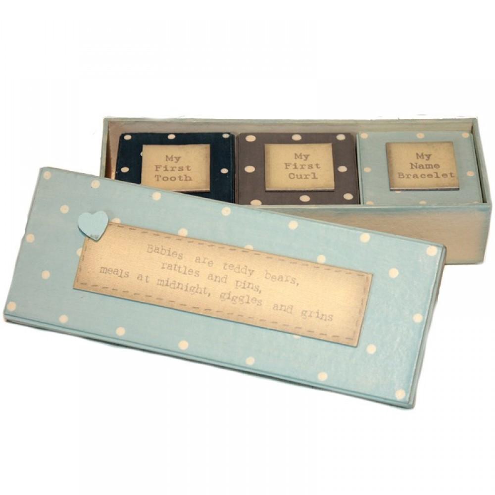 Σετ Δώρου για Νεογέννητο: ξύλινα κουτάκια (πρώτα ενθύμια) για αγόρι