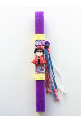 Χειροποίητη Πασχαλινή Λαμπάδα Frida Kahlo Μωβ