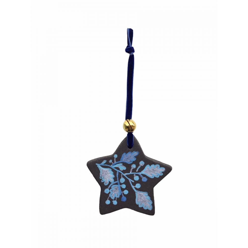 Χειροποίητο Κεραμικό Στολίδι Αστέρι Ζωγραφισμένο στο Χέρι