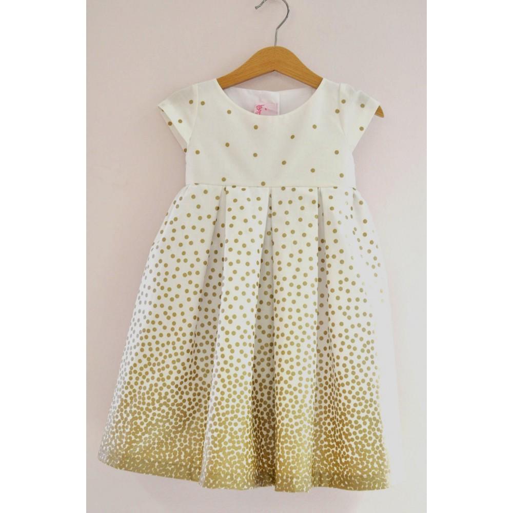 Χειροποίητο Φόρεμα Βάφτισης Retro Dress in Gold