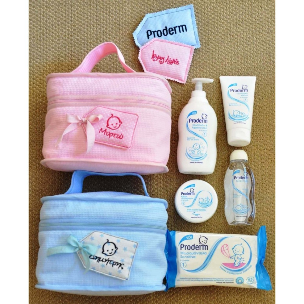 Personalized Necessaire + Proderm in Blue