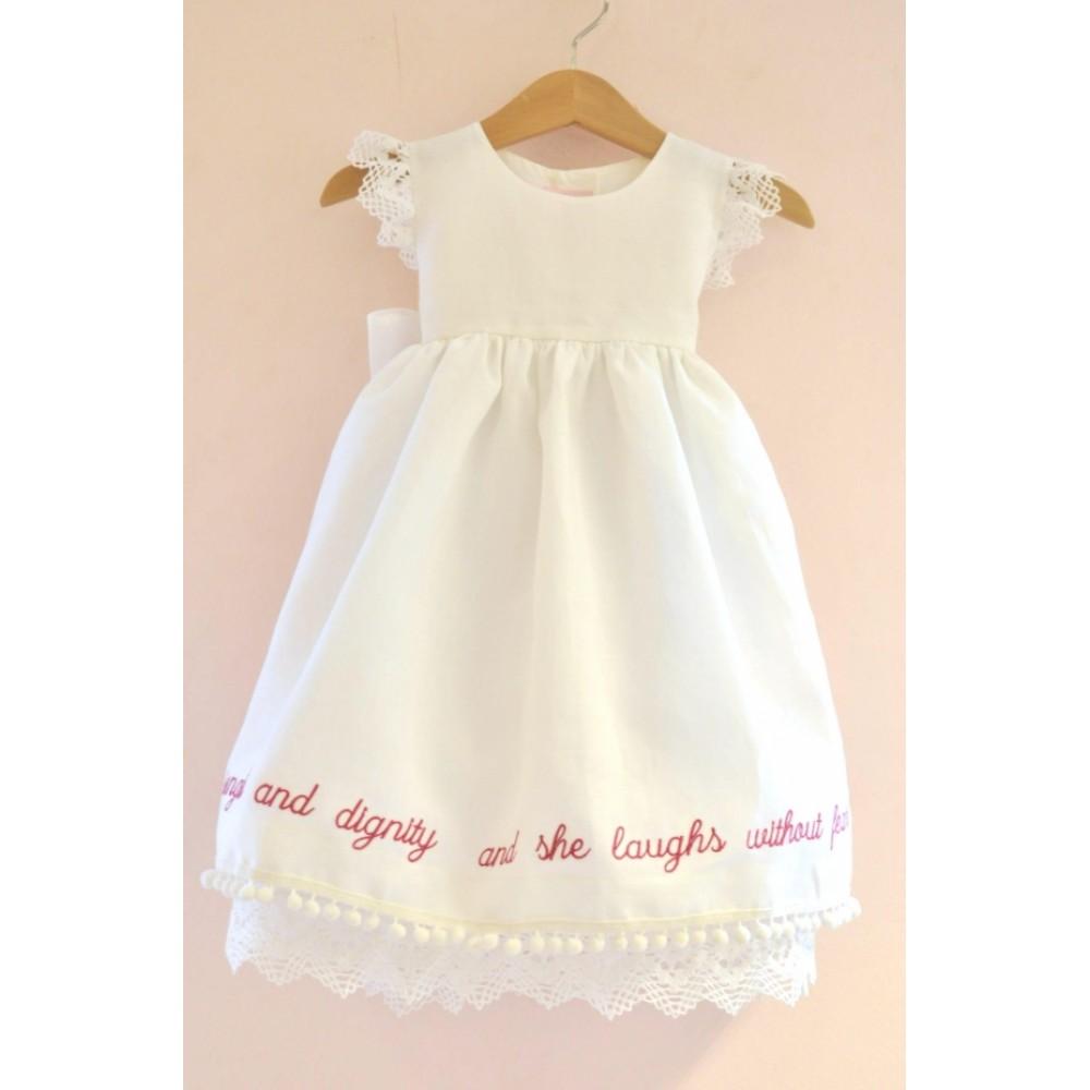 03679fcf17a7 Λινό Χειροποίητο Φόρεμα Βάπτισης  She