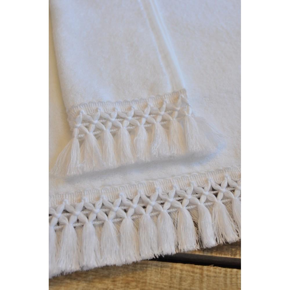 Πετσέτες Βάπτισης Fringe in White