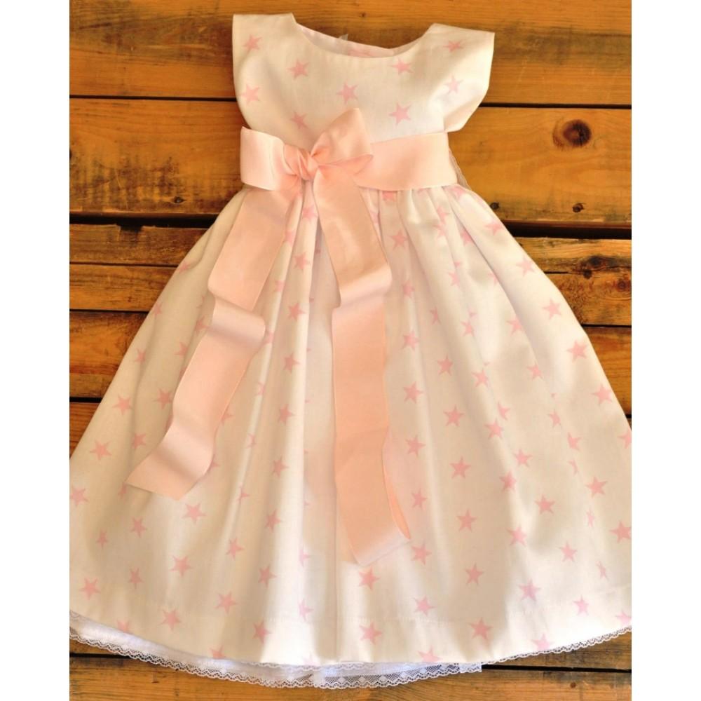 Χειροποίητο Φόρεμα Βάπτισης με Αστέρια Shiny Little Star in Pink