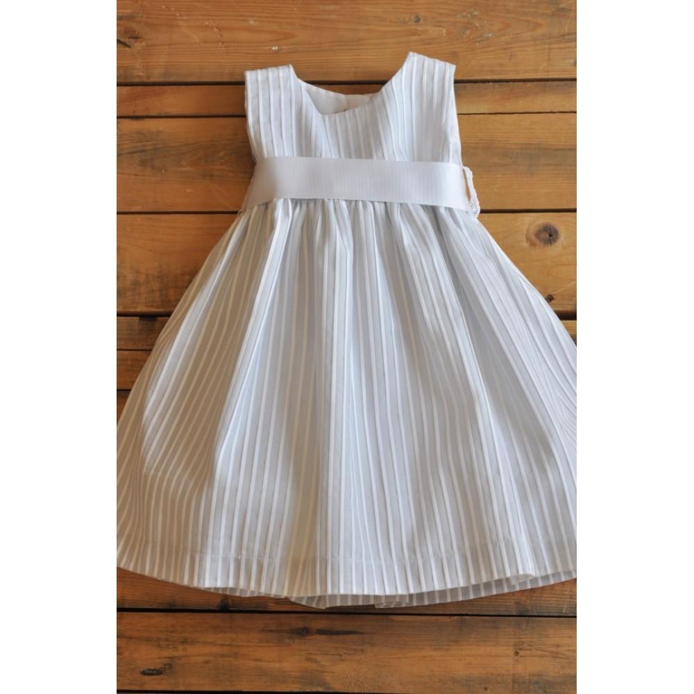 Χειροποίητο Φόρεμα Βάπτισης Grey Striped