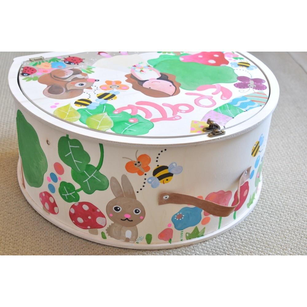 Ξύλινα Κουτιά Βάφτισης Handpainted Suitcase Set